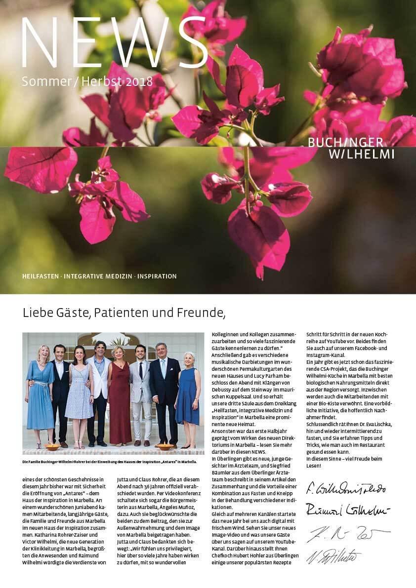 NEWS Sommer Herbst 2018, Buchinger Wilhelmi, Fasten, Heilfasten, Fasting, Health, Integrative Medicine