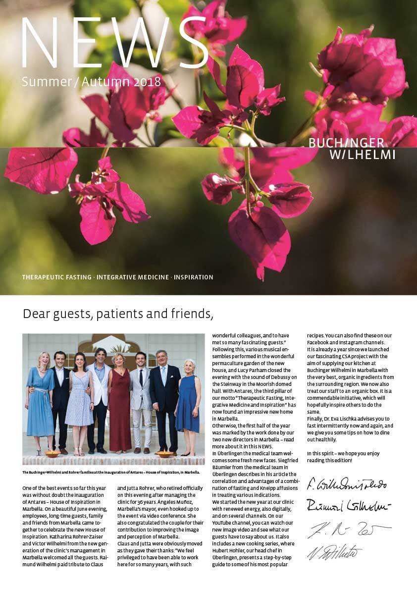 NEWS Summer Autumn 2018, News Buchinger WIlhelmi, Buchinger Wilhelmi, Fasting, Health, Heilfasten, Integrative Medicine