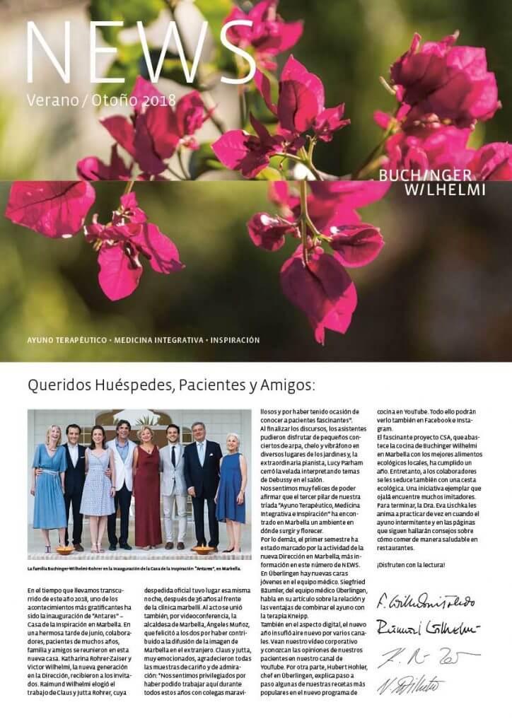 Buchinger Wilhelmi, Fasten, Heilfasten, Fasting, Health,Medicina integrativa, ayuno, salud, Integrative Medicine, NEWS Verano Otono 2018, News