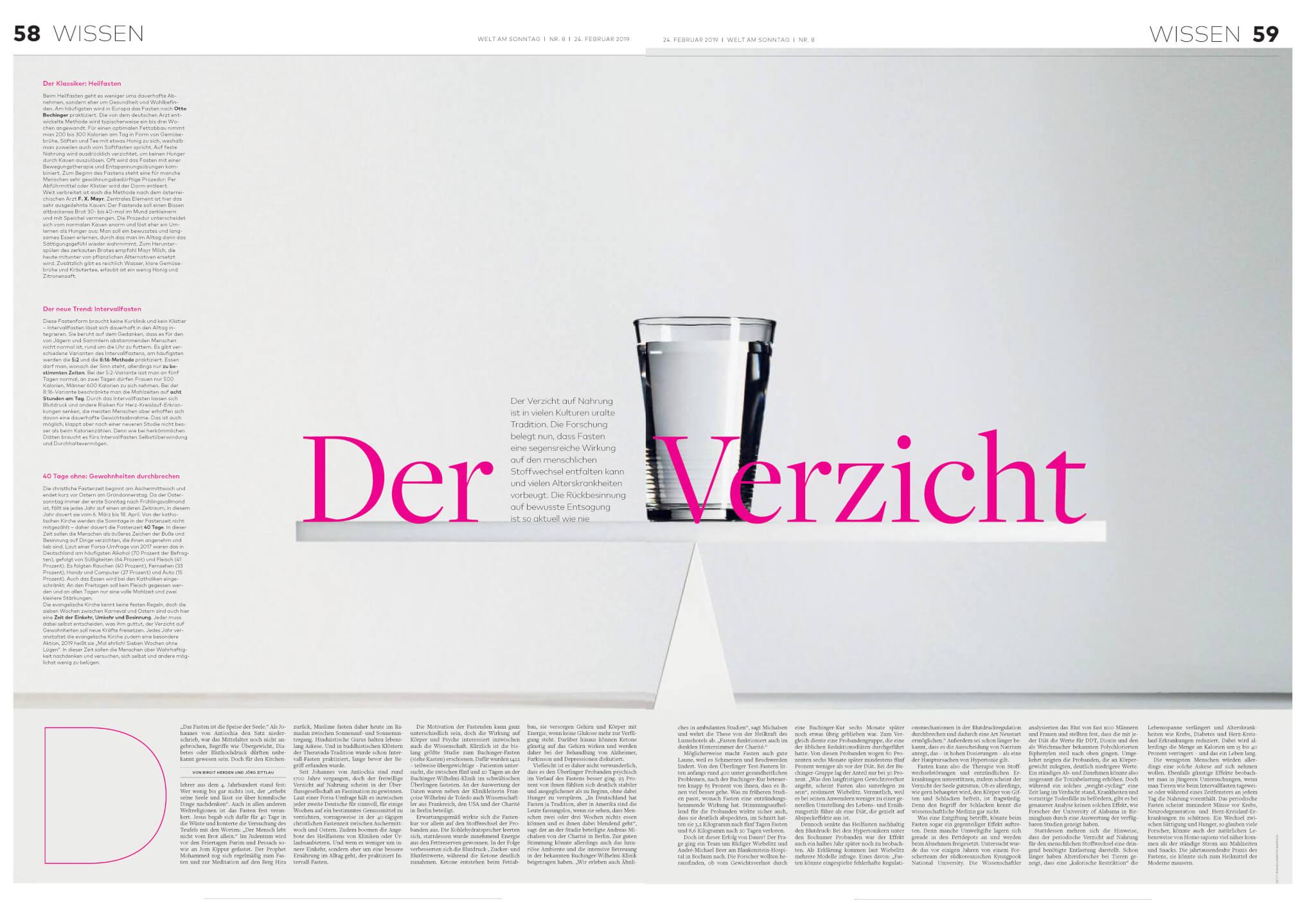 Buchinger Wilhelmi, Fasten, Heilfasten, Fasting, Health, Integrative Medicine, Der Verzicht, Artikel, WAMS